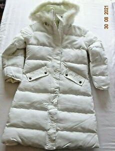 Junior School Girls Hooded Puffer Jacket Snow Winter Long Length Coat White 7-8y