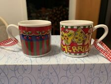 Mary Engelbreit Miniature Hanging Coffee Mug Ornaments More The Merrier Set of 2
