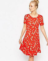 French Connection New Red Floral Drop Waist Dress Summer Topicana 6 8 12