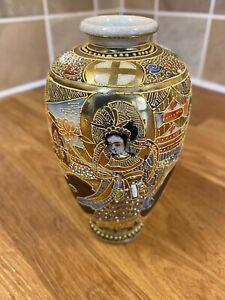 Japanese Satsuma Detailed Vase Antique Vintage Very Early Signed