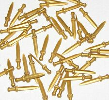 LEGO LOT OF 50 NEW PEARL GOLD ROMAN GLADIUS SWORDS MINIFIGURE CASTLE WEAPONS