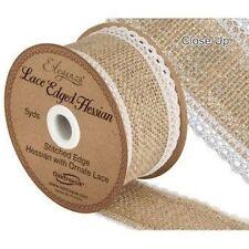 Eleganza Stitched Edge Natural Hessian Ornate White Lace Ribbon 5yds X 50mm.