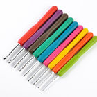 Set of 9PCS Multicolor Soft Grip Handle Aluminum Crochet Hooks Knitting Needles