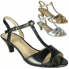 c1adf6afe8e Ladies Party Sandals Womens Kitten Heel Shiny New Wedding Bride T-Bar Shoes  Size