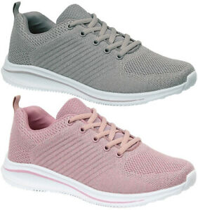 Memory Foam Fitness Comfort Shoes Grey / Pink Lace Up Trainers