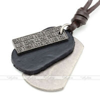 Army Silvery Dog Tag Coffee Genuine Leather Metal Mens Pendant Necklace Jewelry