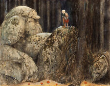 Bauer John The Child And The Stone Troll Canvas 16 x 20   #5613