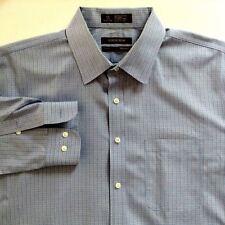Nordstrom Shirt Blue White Plaid Button Down LS Cotton 16-1/2 32/33