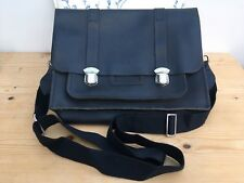 The CAMBRIDGE SATCHEL COMPANY Leather Navy Blue Satchel Messenger Laptop Bag