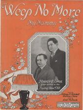 Weep No More My Mammy, Howard Bros. Photo  vintage sheet music, 1921