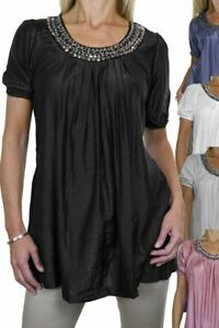 Ladies Smart Casual Loose Tunic Top Round Neck Short Sleeve 8-16 CLEARANCE