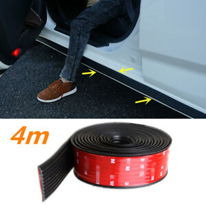 "157"" Black Rubber Car Under Door Sill Skirt Bumper Lip Scratch Resistant Strip"