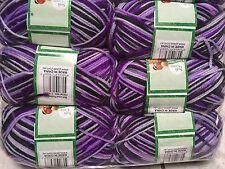 Knitting wool 6 x 100g acrylic yarn 8ply Multi Colour Purple Black  Brand New