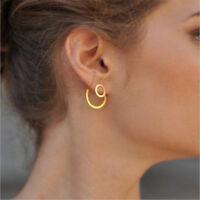 Simple Women Circle Round Ear Studs Earring Minimalist Gold Earrings Jewelry New