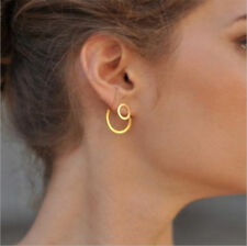 Simple Women Circle Round Ear Studs Earring Minimalist Gold Earrings Jewelry New