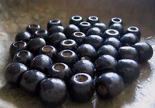 40 Holzperlen Großloch schwarz Großlochperlen Holz Perlen Basteln von Schmuck