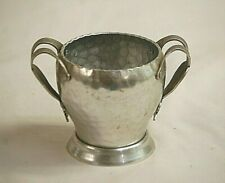 Old Vintage Hand Forged Hammered Aluminum Sugar Bowl w Ribbed Bow Handles