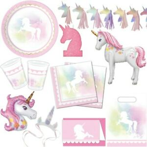 Pink Unicorn Party Decoration Kid's Birthday Deco Set Disposable Dishes