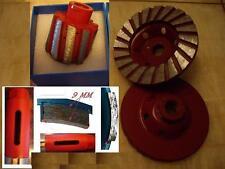 """3"""" 75mm Diamond Zero Tolerance Drum Wheel core drill bit 2 Pc 4"""" Turbo Cup Wheel"""