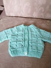 Mint Green hand knitted baby cardigan - new - 0 to 3 months