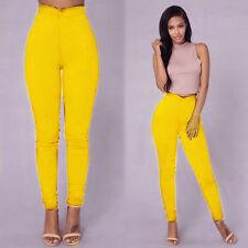Women Pencil Stretch Denim Skinny Jeans Pants High Waist Jeans Trousers XL US