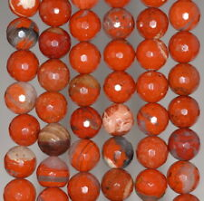 """10MM RED BRECCIATED JASPER GEMSTONE FACETED ROUND LOOSE BEADS 7"""""""
