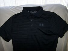 Boys Under Armour Black Striped Short Sleeve 3 Button Polo Shirt Large Loose Fit