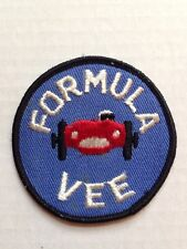 FORMULA VEE EMBROIDERED IRON-ON RACING RALLY JACKET PATCH, NEW NOS, VINTAGE
