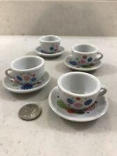 Tea Cup Saucer Small Set 4 Porcelain Polka Dot Circle Child Playset Kids