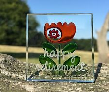 Spaceform Miniature Glass Token Flowers Happy Retirement Unusual Keepsake Gift