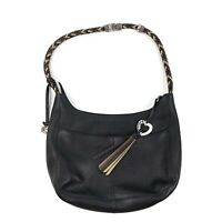 BRIGHTON Womens Barbados Black Brown Leather Braided Handle Hobo Purse Handbag