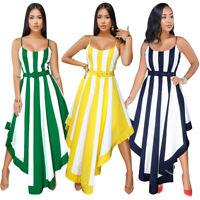 Fashion Women Spaghetti Strap Stripe Print Asymmetrical Hem Casual Summer Dress