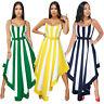 New Women Sexy Spaghetti Strap Stripe Print Asymmetrical Hem Summer Party Dress