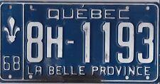 🚨🚨☀️☀️ 🏁 🏁 AUTHENTIC CANADA 1968 QUEBEC LICENSE PLATE.