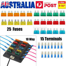 10-Way Blade Fuse Box Block Holder LED Indicator + 25 Fuses for Car Marine12-32V