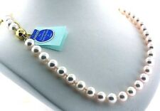 "AA+ 7.5-8MM Japanese Akoya Cultured Pearl Necklace 14K Diamond Clasp, 16"" NEW"