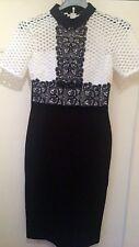 Zara Woman Monochrome Black And White Lace Dress XS 34 UK 8 Self Portrait Style