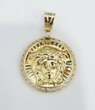 10k Yellow Gold Medusa Head Face Charm Pendant Round Hollow CZ Medallium Small