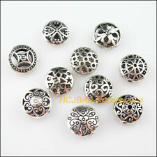 10Pcs Tibetan Silver Tone DIY/ Round Spacer Beads Charms Pendants 17mm