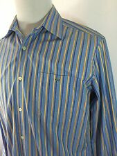 Lacoste Mens 40 M Blue Yellow Striped Button Front Long Sleeve Shirt 100% Cotton