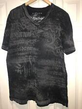 Affliction Mens Large Gray Tshirt Short Sleeve V Neck 100% Cotton C18