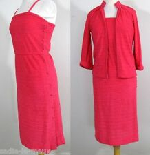 Vtg 70s Hot Pink Fuchsia Ribbed Velveteen Tank Dress Draped Jacket Ensemble S