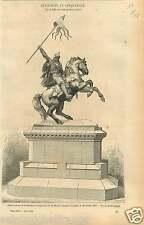 Statue Equestre Guillaume le Conquerant Falaise de Rochet GRAVURE OLD PRINT 1858