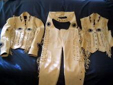 Uomini fatti a mano in pelle mucca occidentale giacca gilet e pantaloni ossa, FRANGE PERLINE