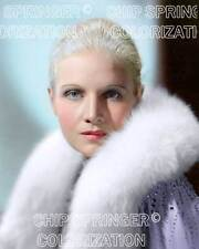 ANN HARDING WRAPPED IN FUR PURPLE COAT BEAUTIFUL COLOR PHOTO BY CHIP SPRINGER