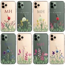 Wild Floral PERSONALISED CLEAR Initials Name Phone Case Cover for iPhone Samsung