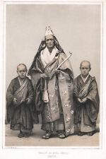 c.1856 JAPAN LITHOGRAPH PRINT FROM DAGUERREOTYPE - PRIEST IN FULL DRESS SIMODA