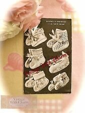 Vintage 1940s Knitting Pattern 5 Styles Of Bootee & 1 Style Ankle Shoe For Baby