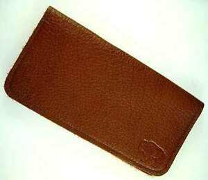 LIGHT BROWN BUFFALO LEATHER Check Book Cover Wallet Hand Crafted Navy Veteran