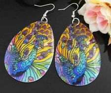 140B2-8 Peacock print Water drop shape Natural Sea Shell Dangle Earrings g0616